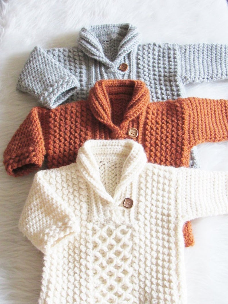 Photo of Crochet Sweater Pattern for Baby and Toddler, 0-3 Months to 3/4T, Textured Crochet Sweater, Bentley