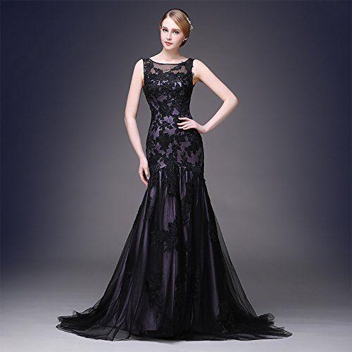 Amazon.com: BEAUTBRIDE Women's Elegant Long Black Lace