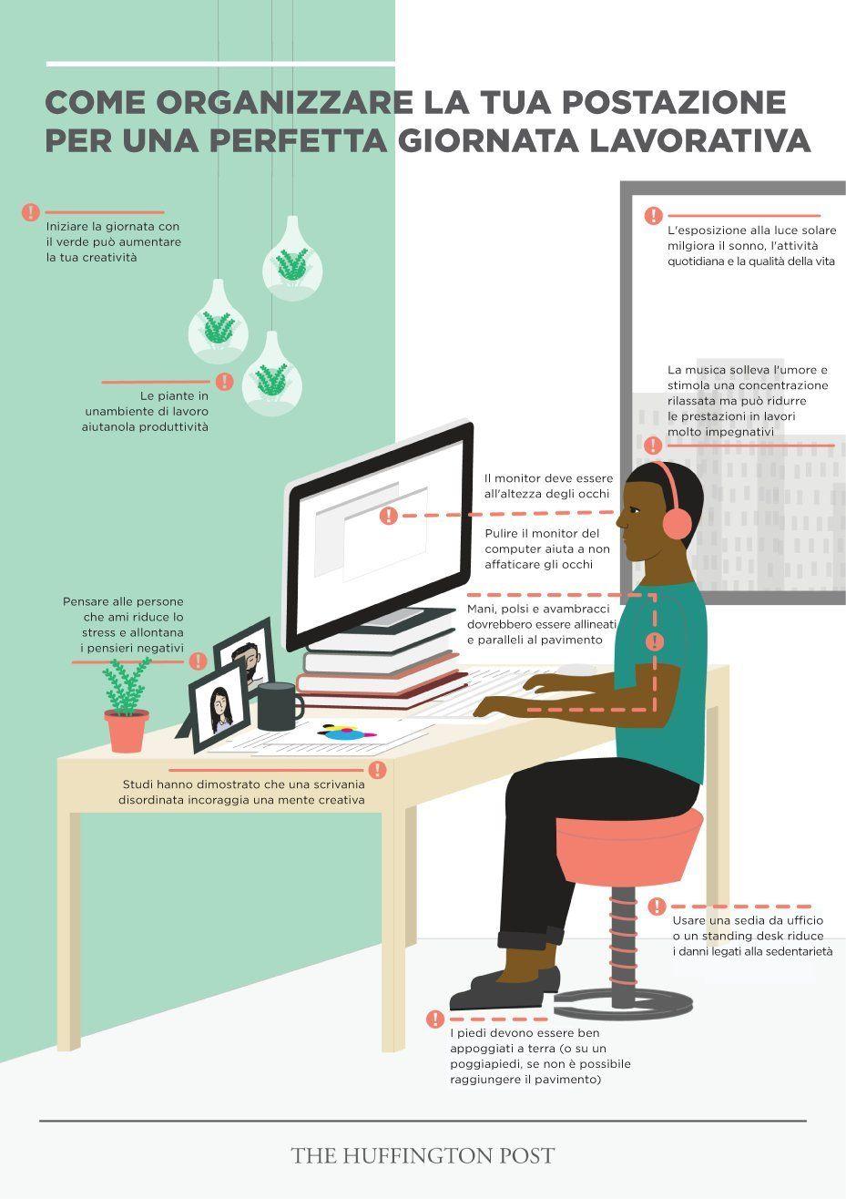 Come organizzare la scrivania per rendere il lavoro di tutti i giorni più produttivo (INFOGRAFICA)