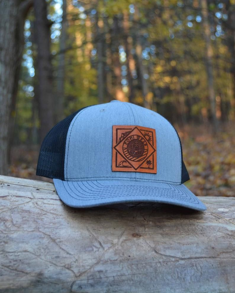 Zoni Wear Leather Patch Hat Leather Patch Trucker Hat Etsy Leather Patches Leather Custom Leather