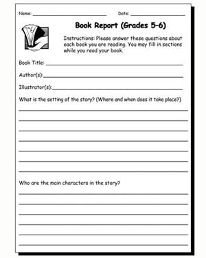 Book Report 5 & 6 - Free English Worksheet for Kids | Book ...