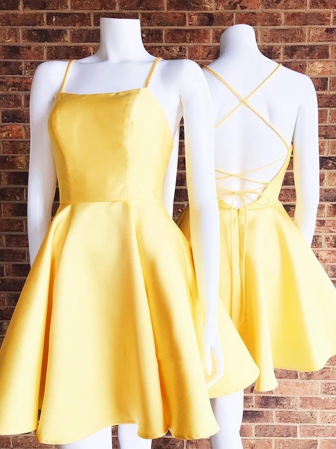 charming yellow sleeveless homecoming dress spaghetti-straps backless short school event dress racer-back satin evening dress,GGD531390 #homecomingdresses