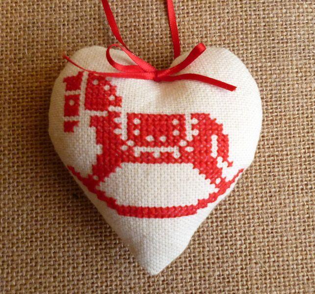 Rocking horse cross stitch christmas tree decoration