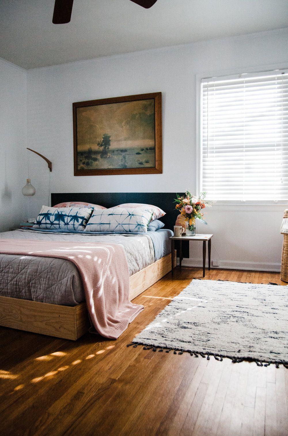 Simple, Modern, Minimal, Colorful Bedroom Update Featuring