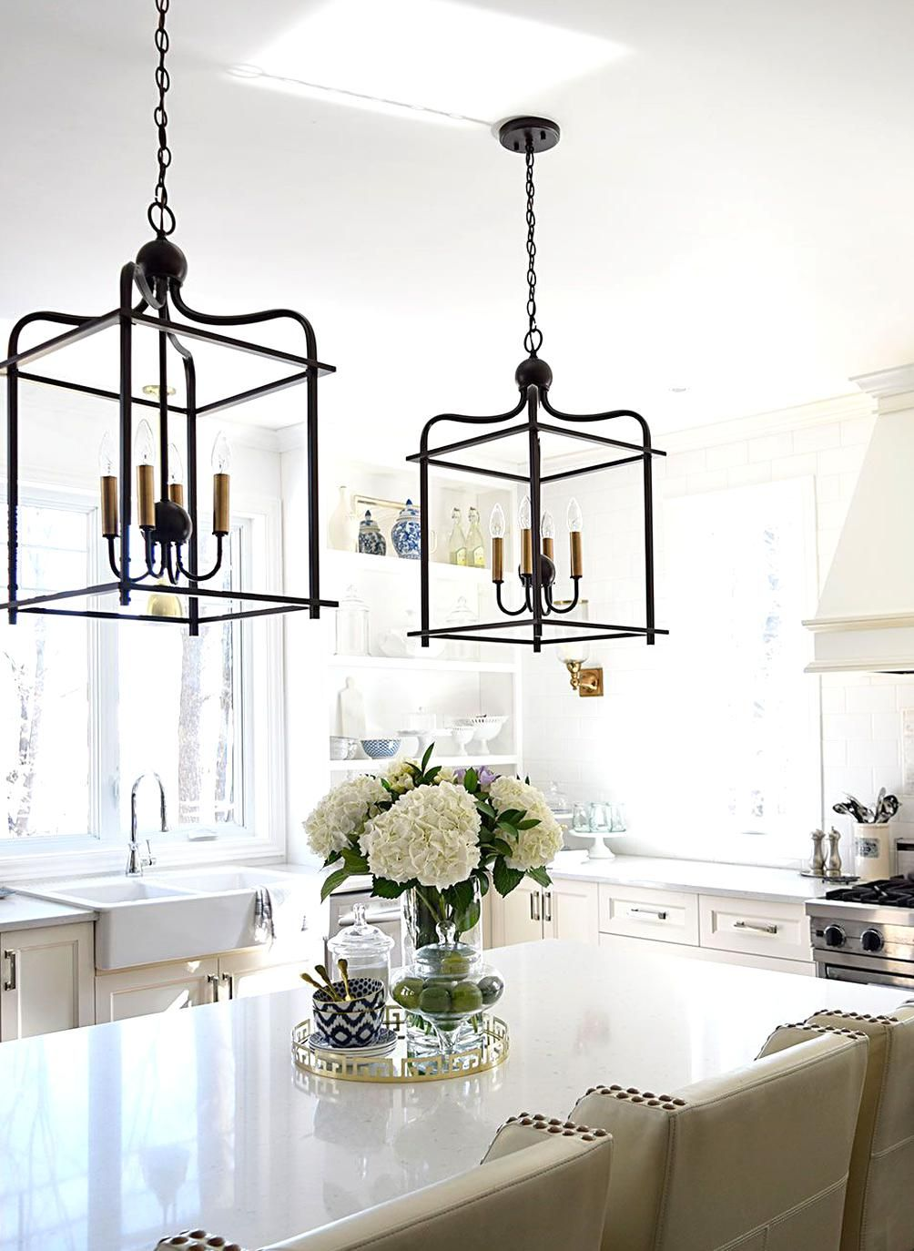 Bright and airy kitchen with twotone lantern style