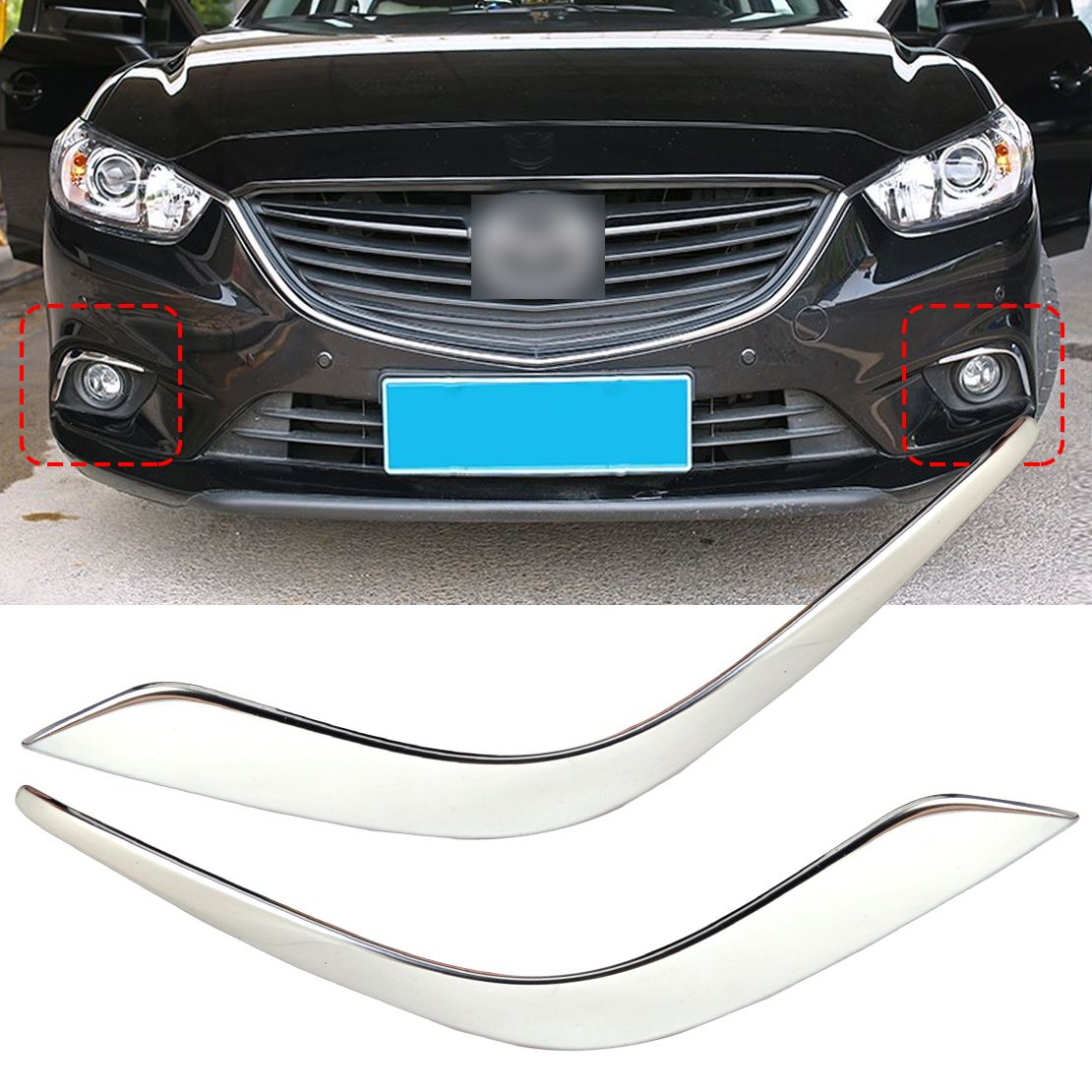 Dwcx car styling chrome plated fog light lamp eyebrow cover trim fit for mazda atenza 2013