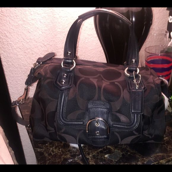 SOLD IN OTHER SITE Coach Handbag/Shoulder bag SOLD IN OTHER SITE .Coach handbag/shoulder bag. Black C logo print. Used but good condition. Comes with care card Coach Bags Shoulder Bags
