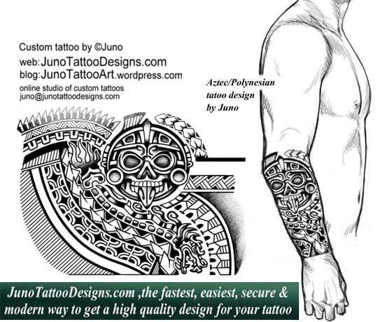 Aztec Polynesian Tattoo Tribal Tattoo Quetzal Tattoo Serpent Tattoo Forearm Tattoo Junotattoodesigns Aztec Tattoo Designs Maori Tattoo Aztec Tattoo