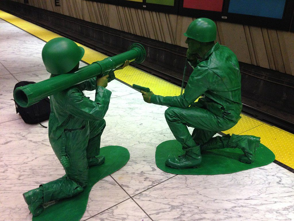 Girlfriend and I went as plastic army men Cool halloween