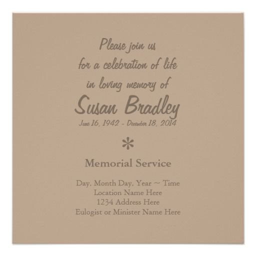 Elegant  Modern Celebration of Life Invitation Celebration of - memorial service invitation wording