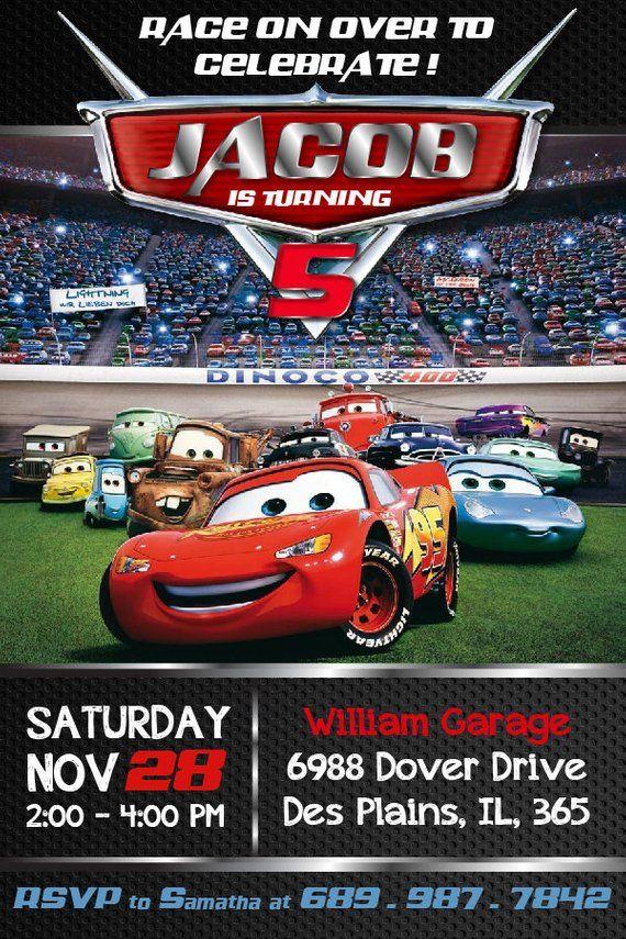 Cars Birthday Invitation, Mater and Lightning McQueen Birthday Invitations, Cars Invitation