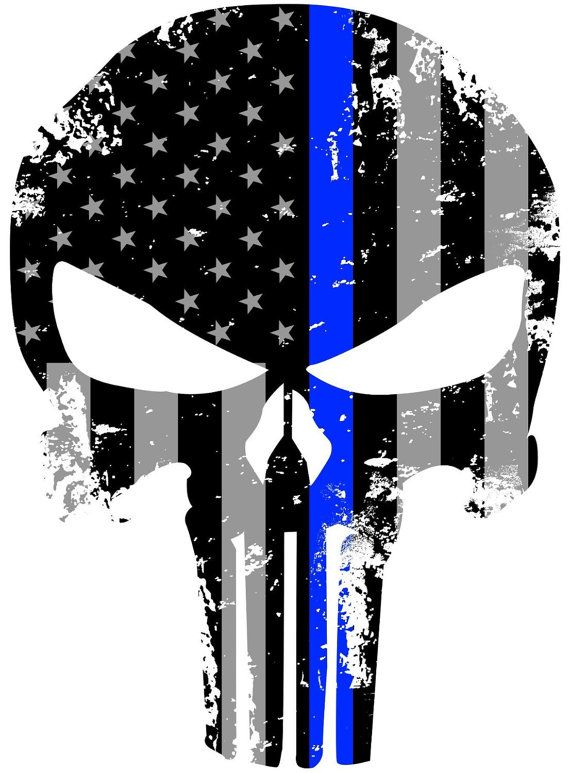 "5/"" Skull American Thin Blue Line Tattered Subdued Law Flag Police Decal"