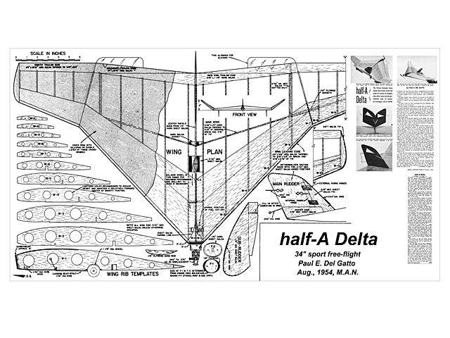 Half A Delta Plan Download Free Vintage Model Aircraft Plan Model Airplanes Model Aircraft Model Aeroplanes