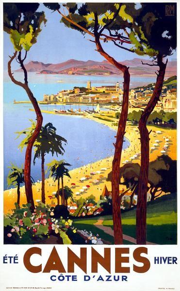 Cannes Vintage Travel Poster Vintage Travel Posters Vintage French Posters Retro Travel Poster