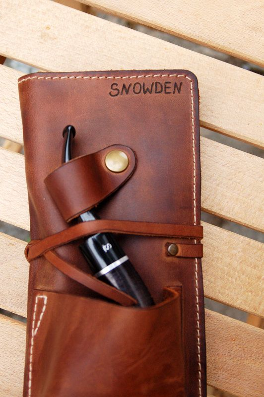 Personalized Leather Pipe & Tobacco Pouch