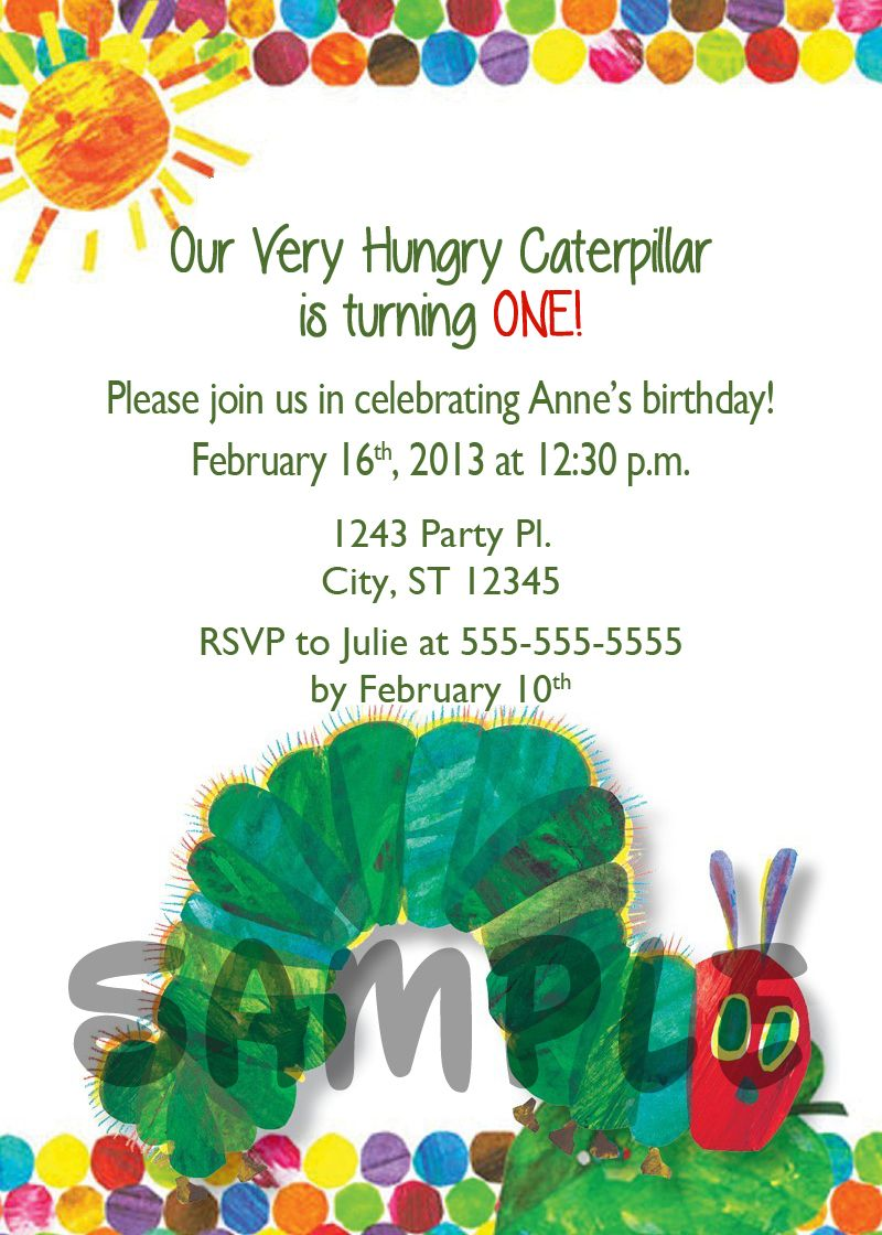 Very Hungry Caterpillar Birthday Digital Invitation $11 | Kids ...