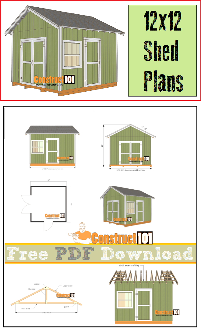 12x12 Shed Plans Gable Shed Pdf Download Wood Working