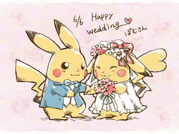 Pikachu wedding ピカチュウのイラスト参考, マリアージュ