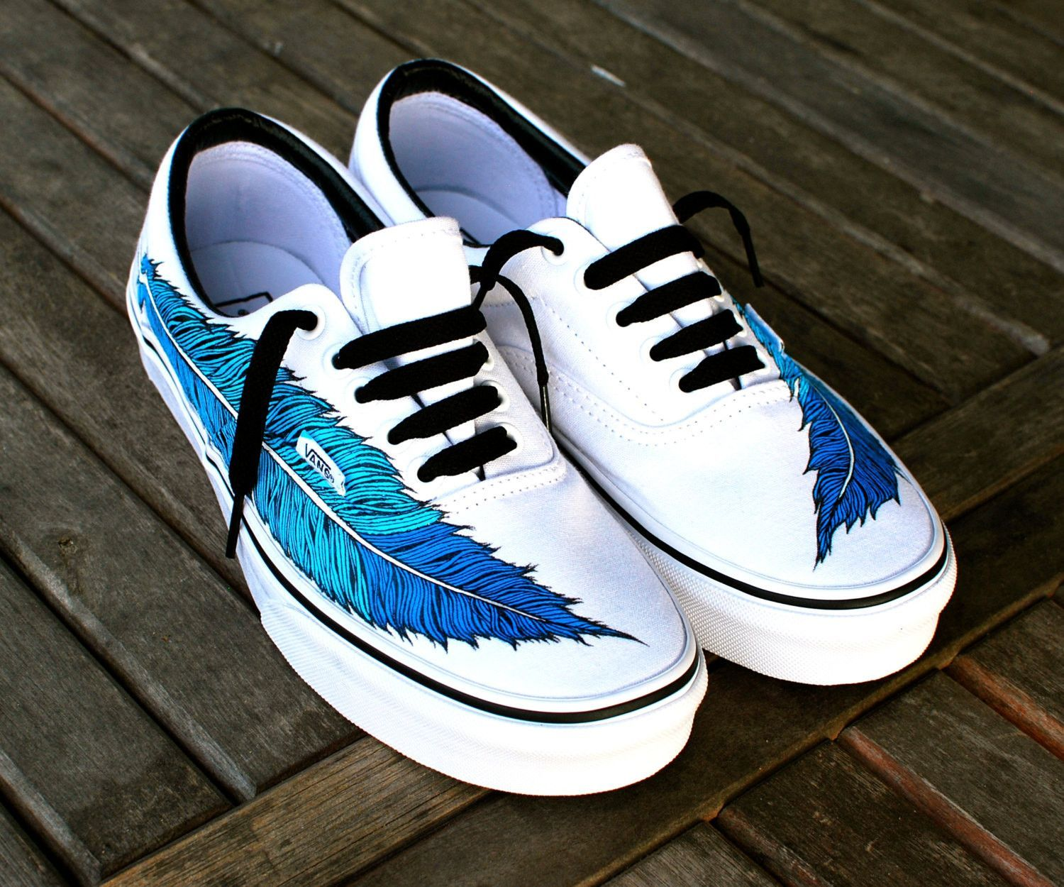 Hand Painted Eagle Feather On White Vans Era