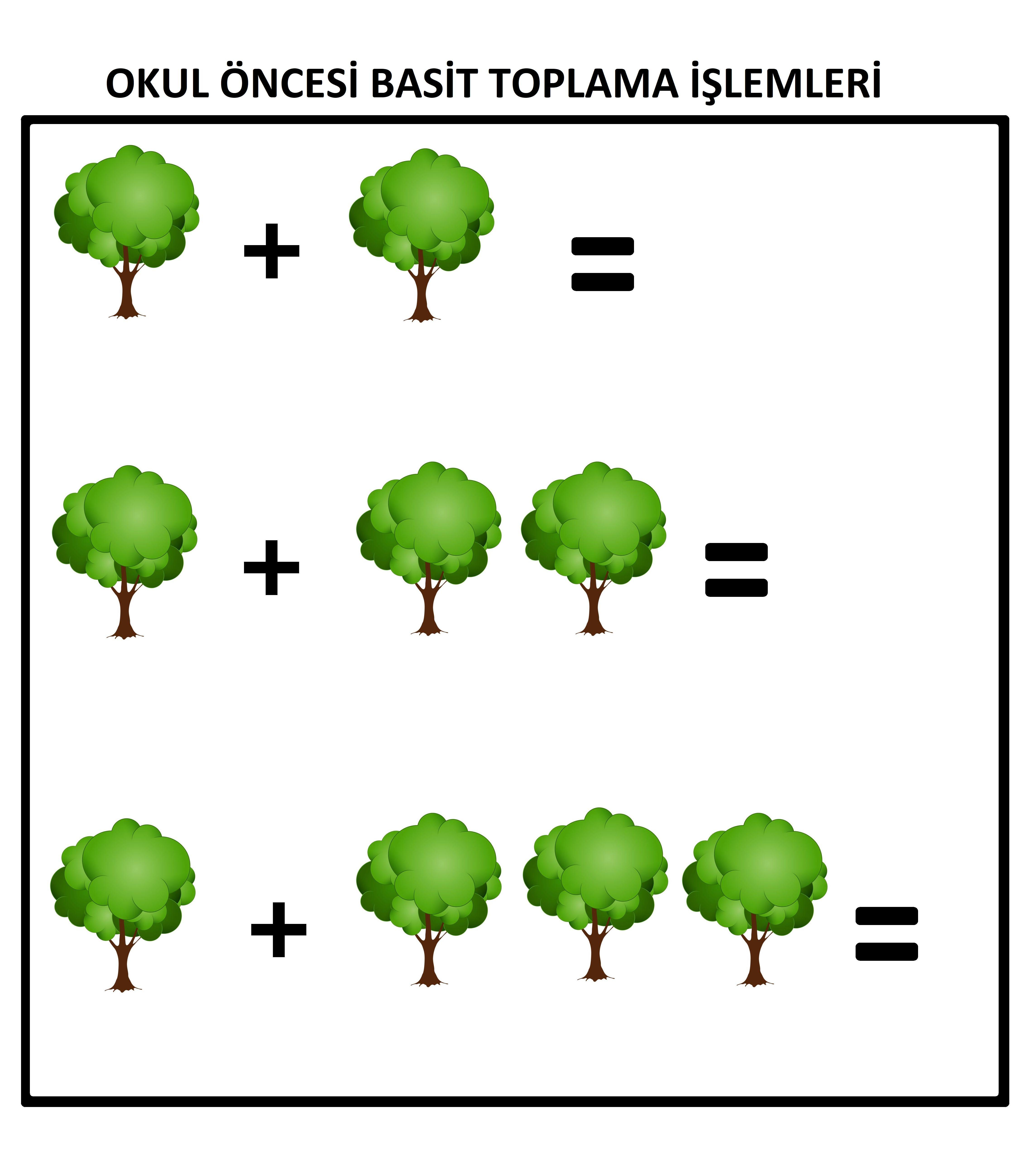 OKUL ÖNCESİ BASİT TOPLAMA İŞLEMİ ÇALIŞMA SAYFASI | Matematik ...