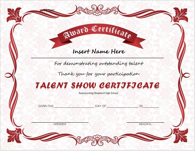 Talent Show Award Certificate Download At HttpCertificatesinnCom