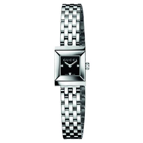 060ee568655 Gucci Women s YA128507 G-Frame Square Steel Bracelet Black Diamond Dial  Watch Gucci.  875.00