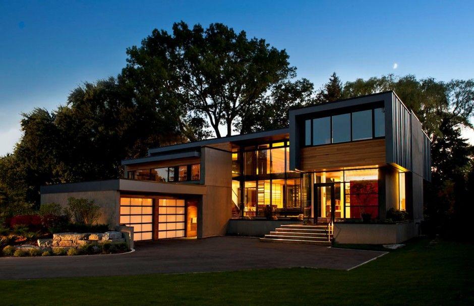 Casa moderna de madera y cristal Fachadas de Casas Fotos de