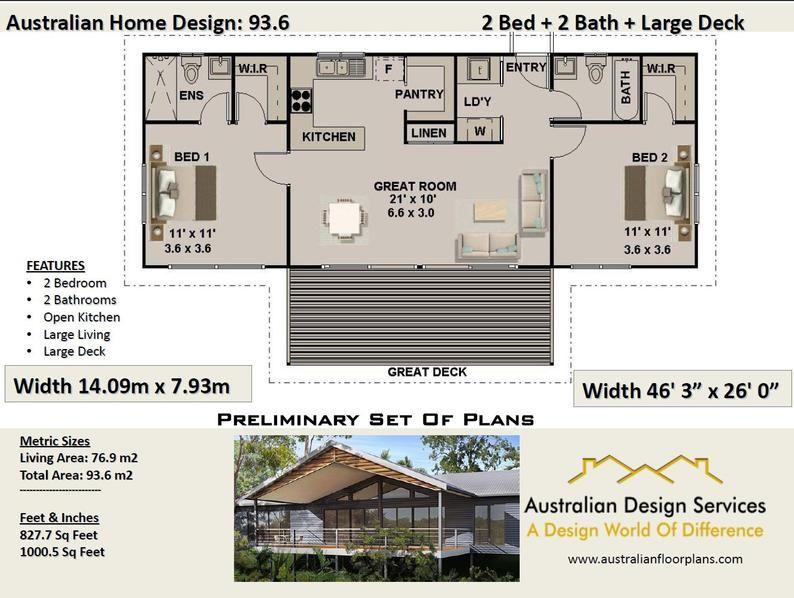 93.6 m or 1000 sq foot Australian 2 Bed + 2 Bath + Home