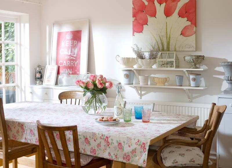 Country Dining Room With Floral Features