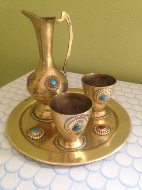 Vintage Brass Cup and Pitcher Set / Indian by LeBrunDesignsInc, $25.00