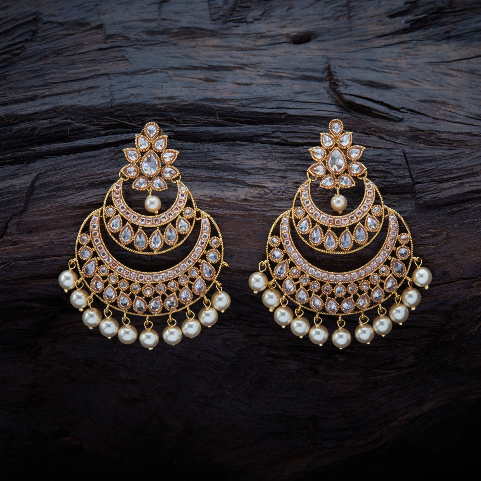 e9de59859 Vintage Design Antique Hanging Earrings studded with Champ synthetic stones  & Beads, with Mehandi Polish.