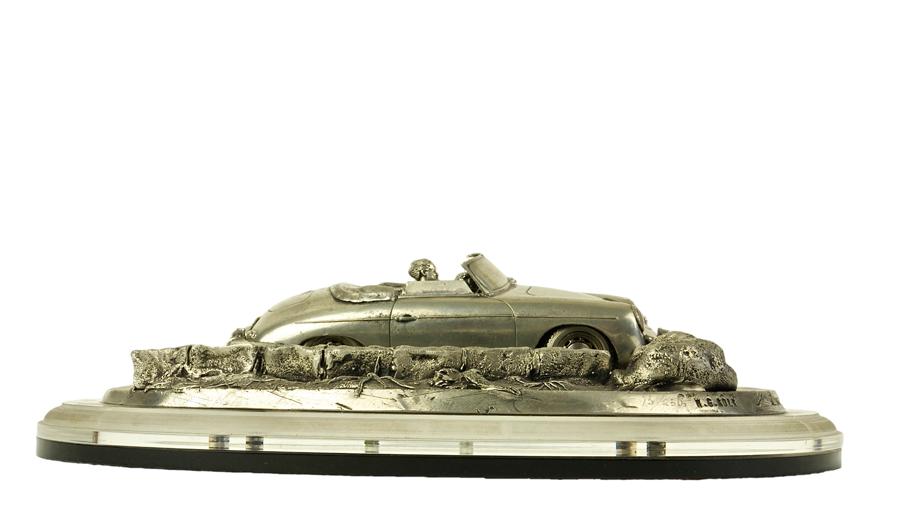 Car sculpture by Henk Kolk of the Porsche 356. Side view.