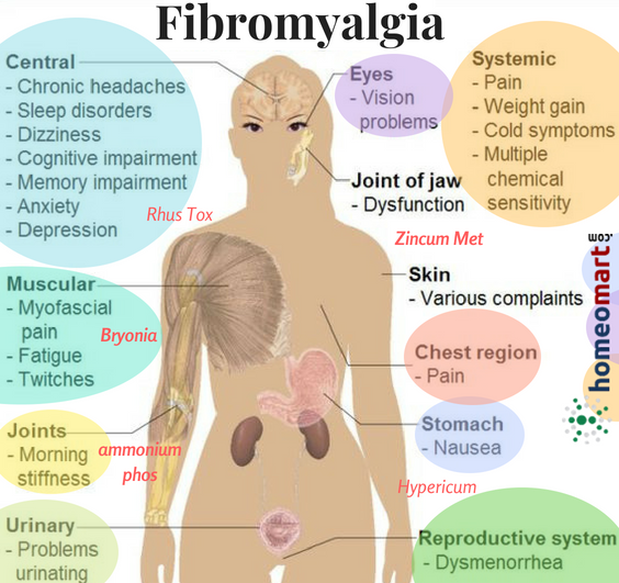 Homeopathy medicines for relief from symptoms of fibromyalgia relief