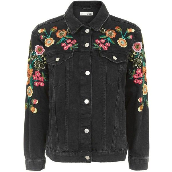 TopShop Moto Floral Embroidered Denim Jacket (960 ARS) ❤ liked on Polyvore featuring outerwear, jackets, topshop, washed black, cowboy jean jacket, topshop jackets, floral embroidered jacket, denim jacket and oversized jean jacket