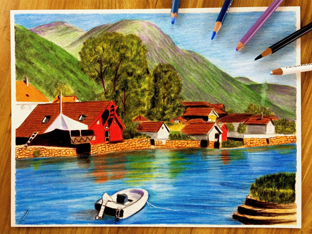 Drawing A Landscape In Wood Colors Landscape Painting Drawings