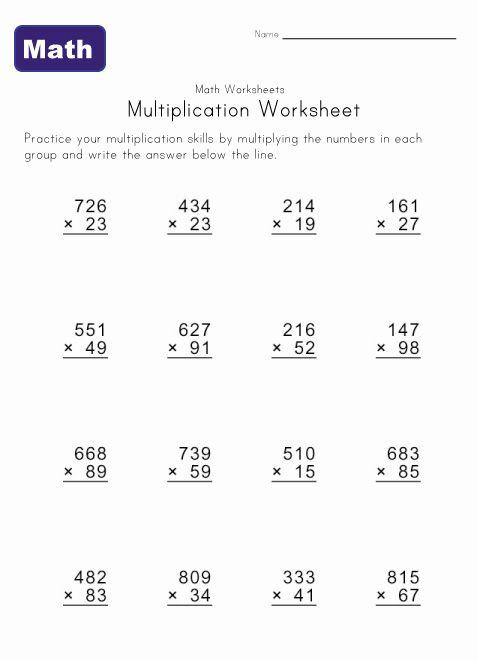 Multiple Digit Multiplication Worksheets Multiplication Worksheets Math Worksheets Multiplication