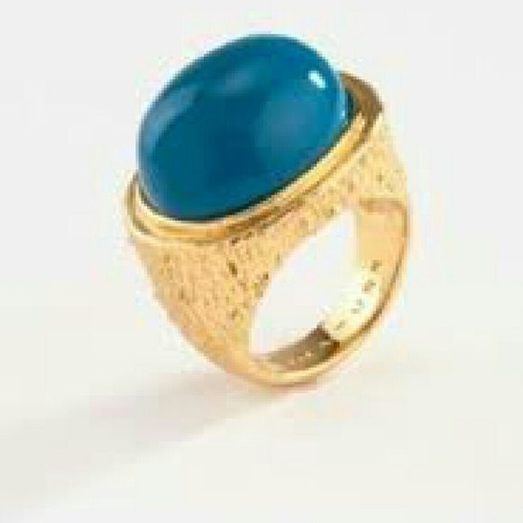 Trina Turk Sequoia ring - 7 This ring has never been worn and is in excellent shape. The color is a dark turquoise. Intrude Trina Turk style it is a heavy ring. I hope the picture shows the side detailing Trina Turk Jewelry Rings