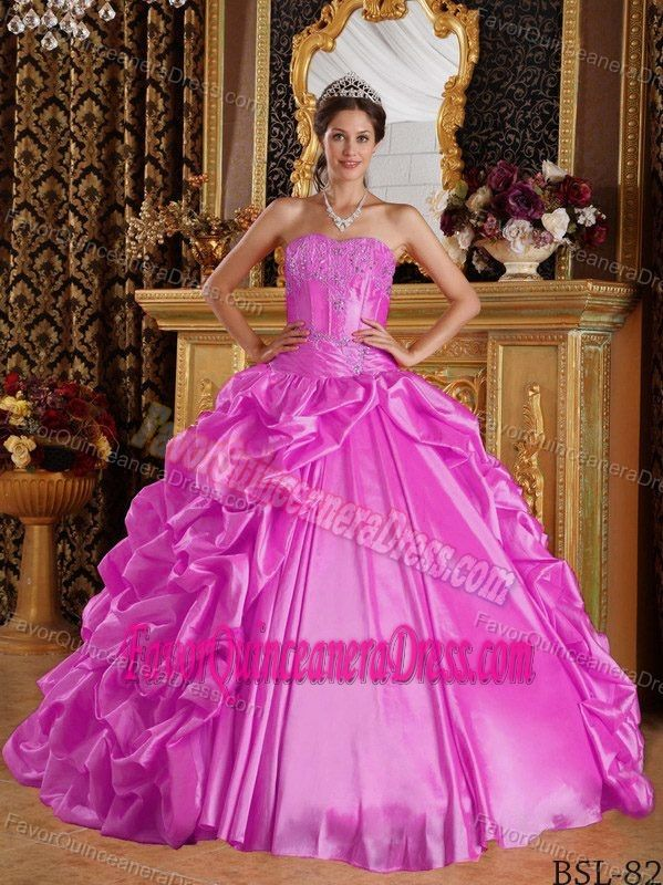 Pink Sweetheart Taffeta Embroidered Quinceanera Dress with Pick-ups - $229.69