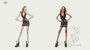 """Este anuncio va contra la anorexia, como bien dice:""""No eres un dibujo: di no a la anorexia""""."""