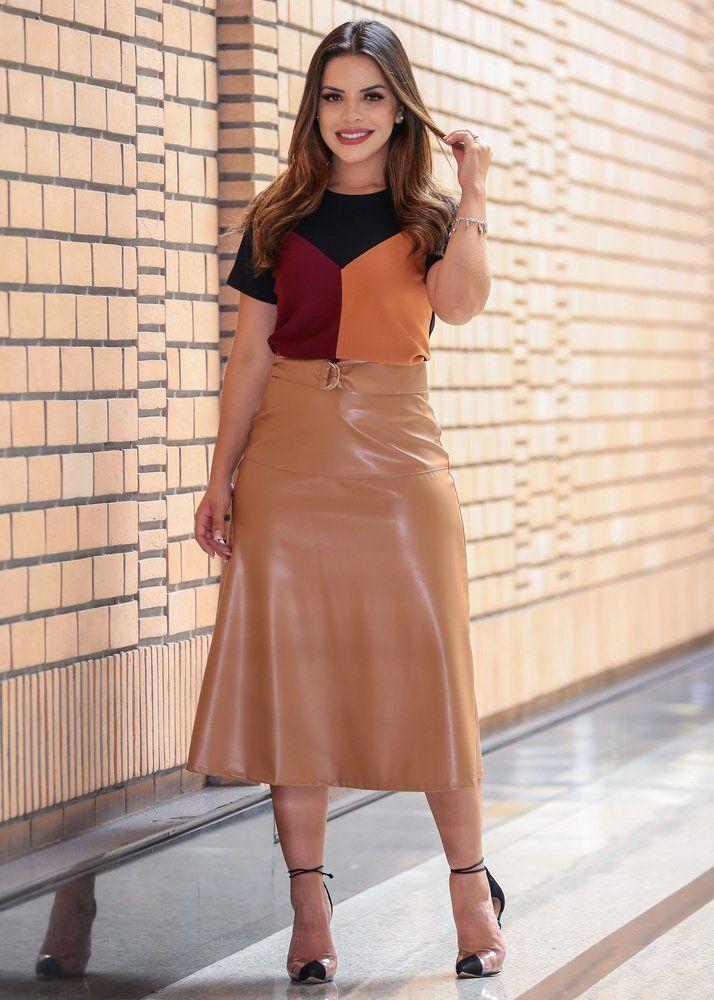 Pin de Erica Furlan em Fashion | Looks com saia midi, Saia