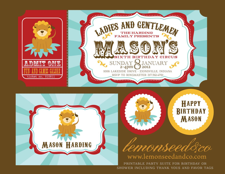 Printable Diy Circus Birthday Baby Shower Carnival