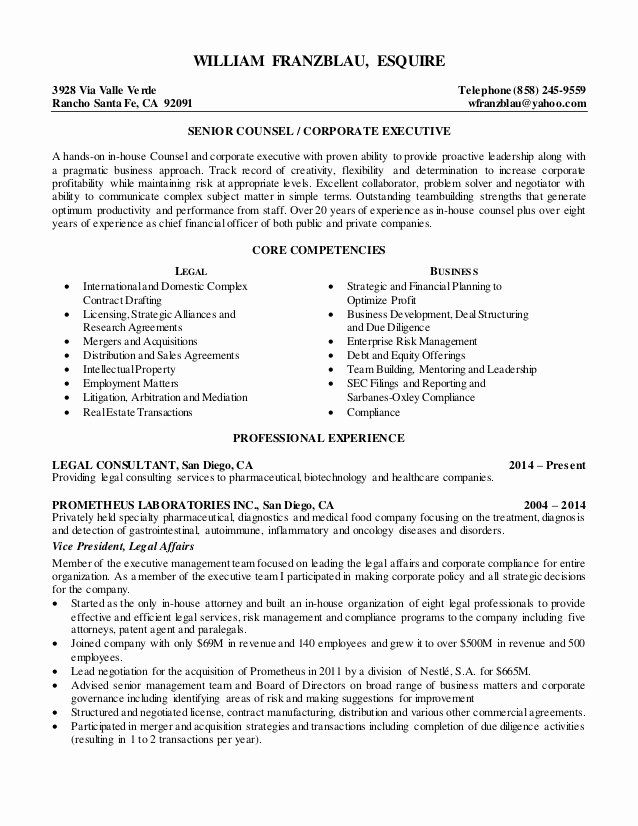 In House Counsel Resume Lovely William Franzblau Esquire Senior Counsel Resume 2015 In 2020 Professional Resume Examples Resume Resume Examples