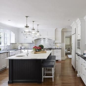 White Kitchen With Black Beadboard Island Transitional Kitchen