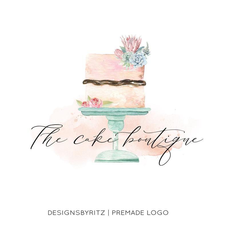 wedding cake logo design Cake Logo Design, Premade Logo, Wedding Cake Logo, Cacti Logo