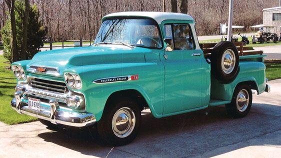 1959 Chevrolet Apache 3100 1 2 Ton Stepside Pickup Chevrolet Apache Old Trucks New Trucks
