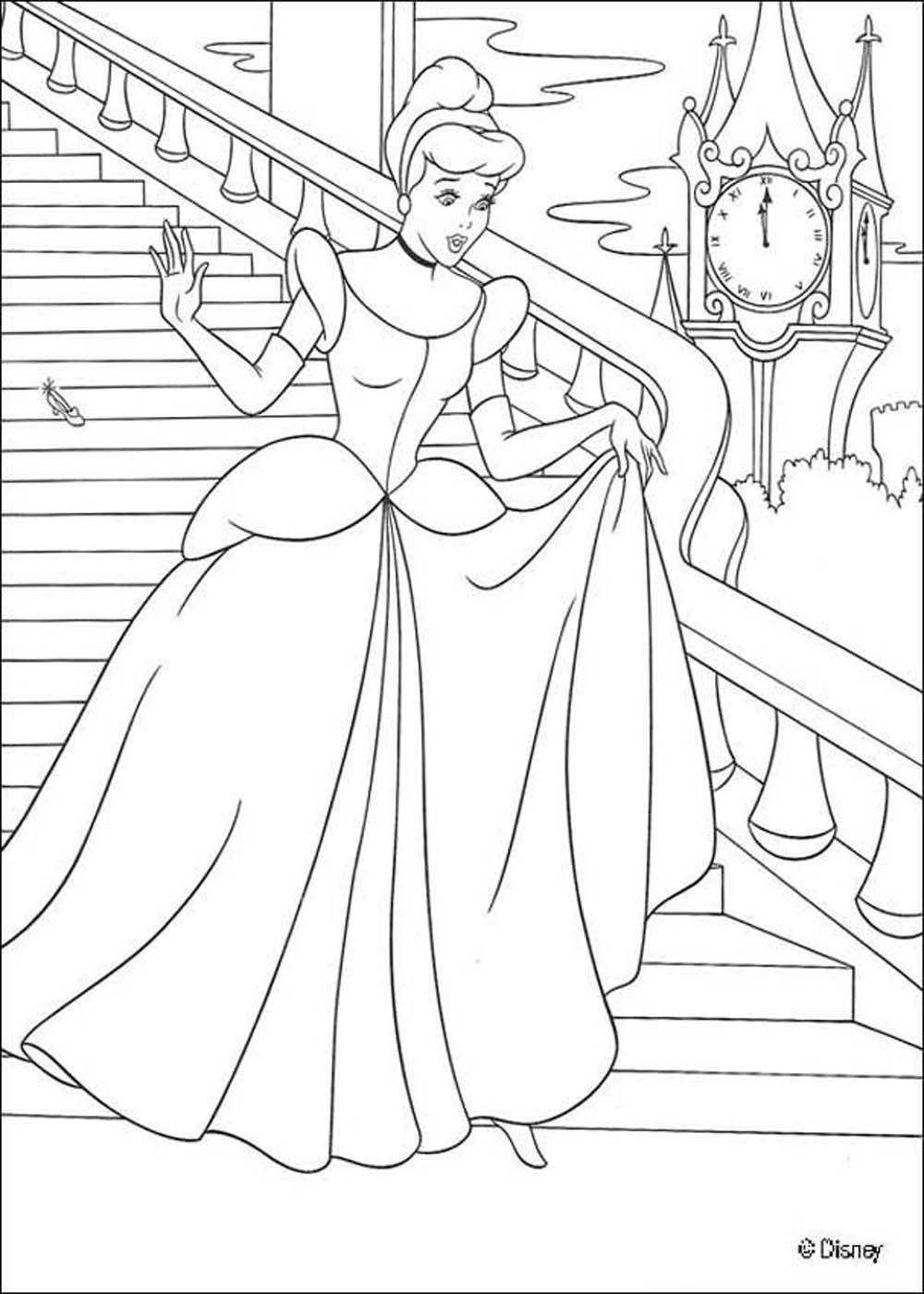 Princess Coloring Princess Cinderella Dengan Gambar