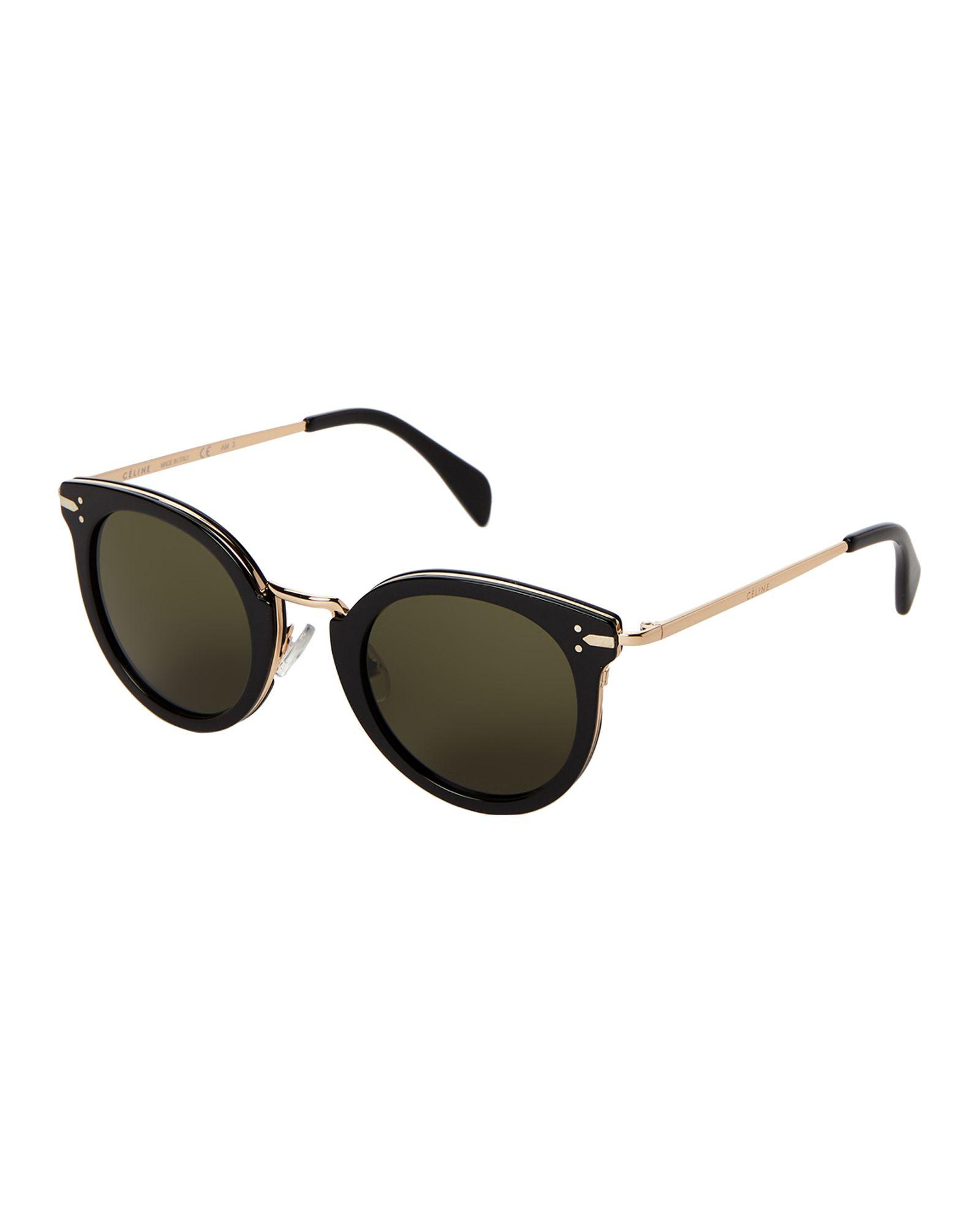 f770515a5abd Celine CL 41373 S Black   Gold-Tone Round Sunglasses