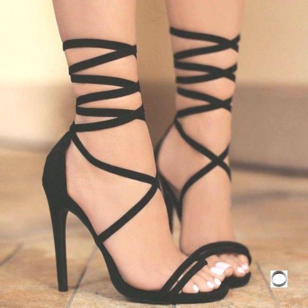 Women's Lelia Black Stiletto Heels Open Toe Lace Up Strappy