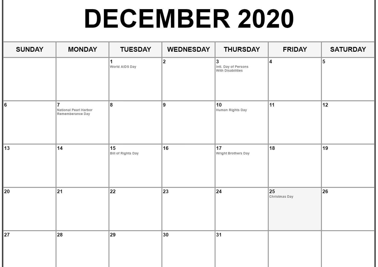 December 2020 Calendar Pdf Word Excel Template Printable