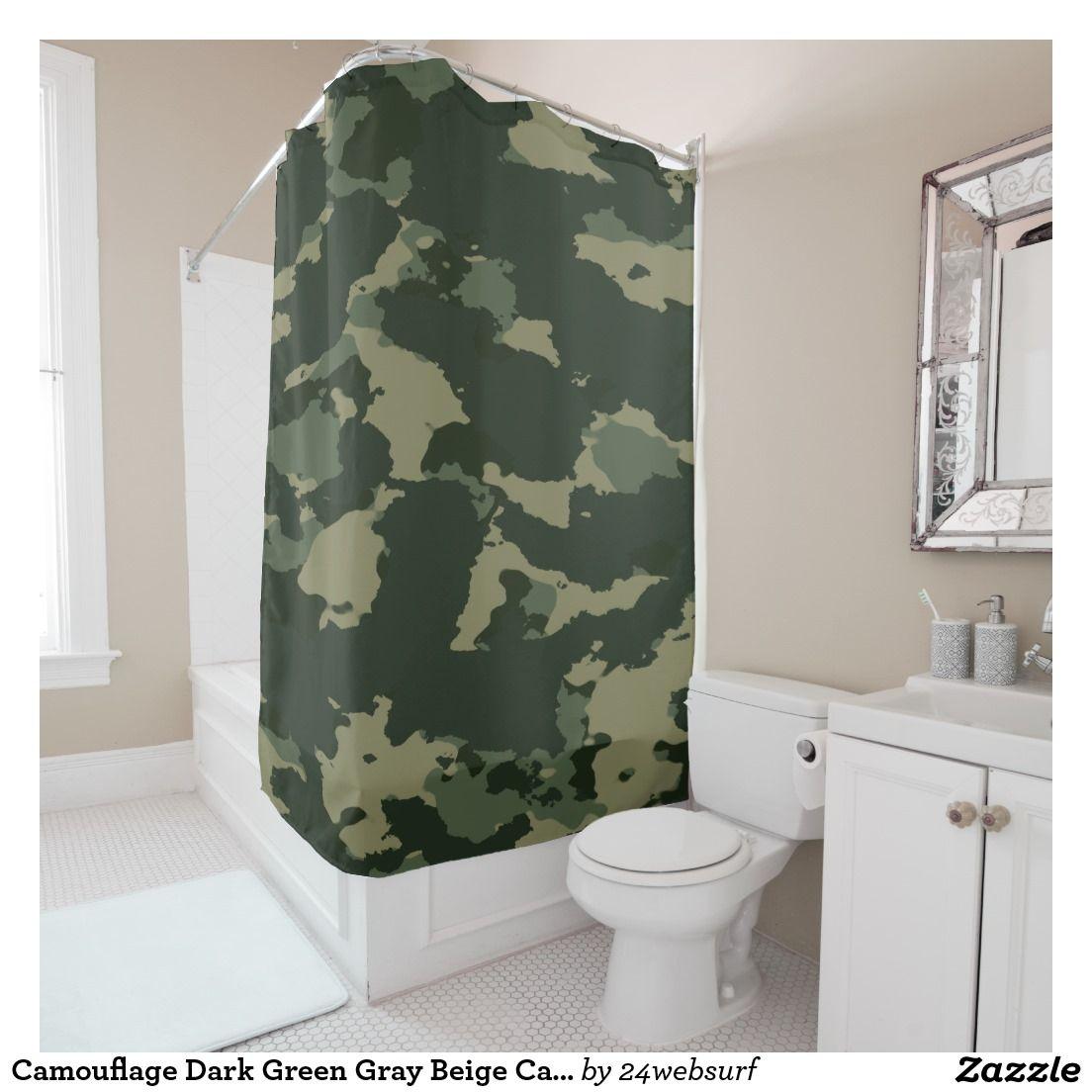 Salle De Bain Achat Et Pose ~ Camouflage Dark Green Gray Beige Camo Design Shower Curtain